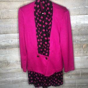 Vintage Alison pink polka dot skirt set